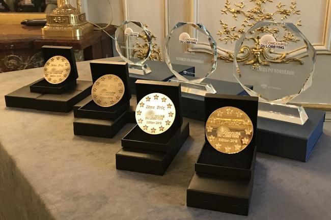 Médailles et trophées de l'édition 2018 du Concours du Lobbying